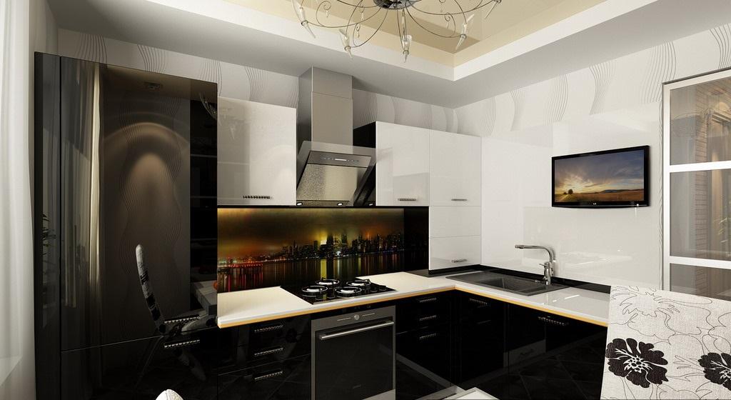 Угловые кухни хай тек фото