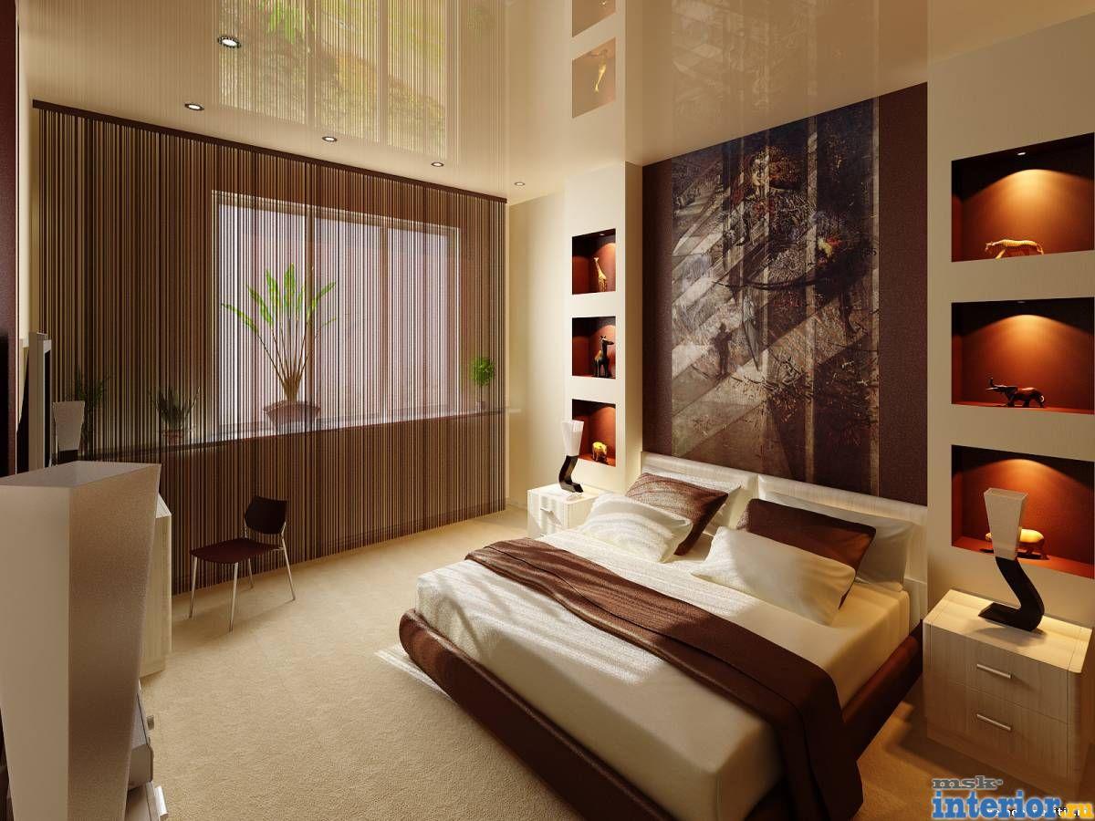 Дизайн спальни с нишей из гипсокартона фото
